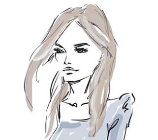 Sketch illustration of girl with brown hair and blue top