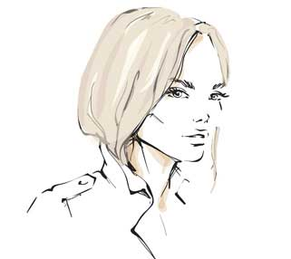 Sketch illustration of girl with light blonde hair tucked into jacket