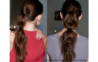 Model image with ponytail split into three sections using bobbles