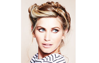 Messy-chic braid hair model image with blonde hair