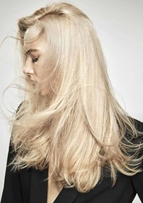 Blonde model with long hair