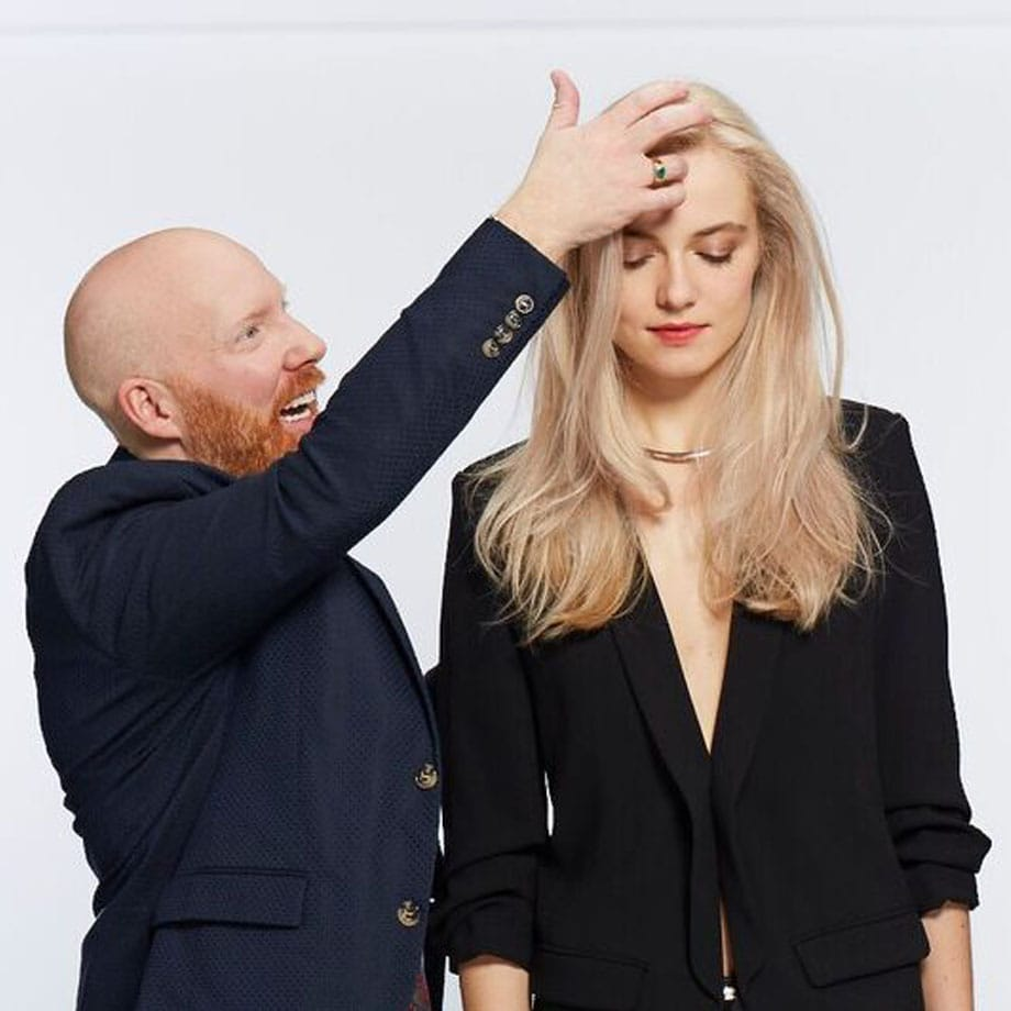 Blonde model having hair styled