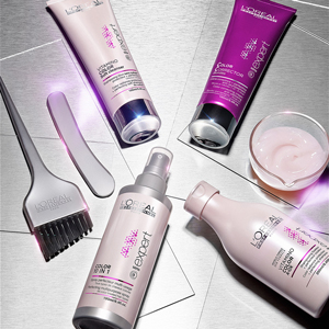 Vitamino Color Products on silver table
