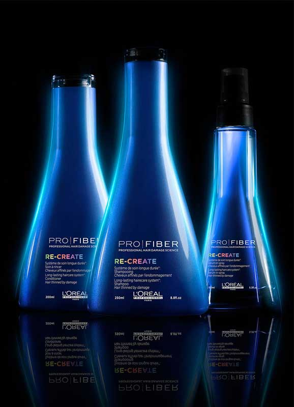 Pro Fiber Recreate range blue shampoo bottles