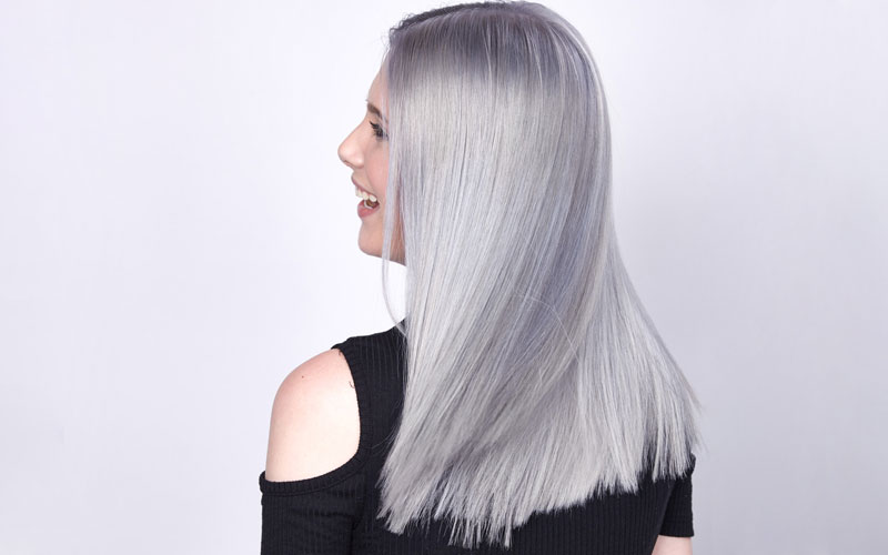 Side profile lilac medium length hair