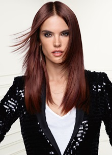 Supermodel Alessandra Ambrosio with red hair