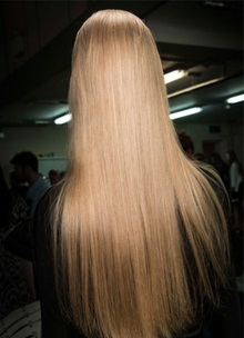 Back of model head with long straight hair