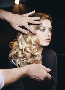 Blonde women with curls